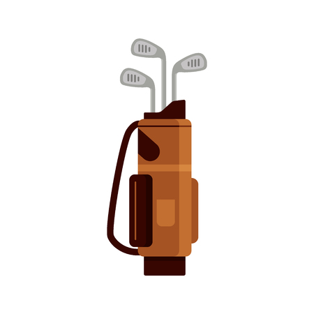 Golf bag icon isolated on white background, flat element for golfing, golf equipment - vector illustration.