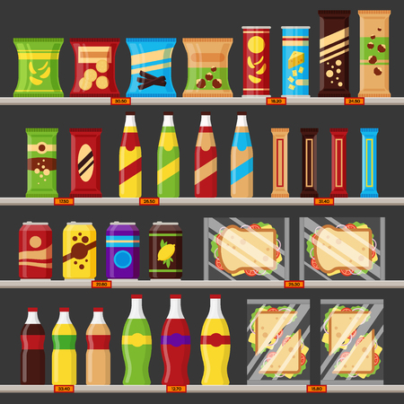Supermarket, store shelves with groceries products. Fast food snack and drinks with price tags on the racks - flat vector illustration.