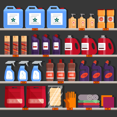 Store shelves with household chemical products. Household supplies aisle, cleaning agents in the supermarket used for washing, cleaning, laundry. Detergent and disinfectant products - flat vector illustration.