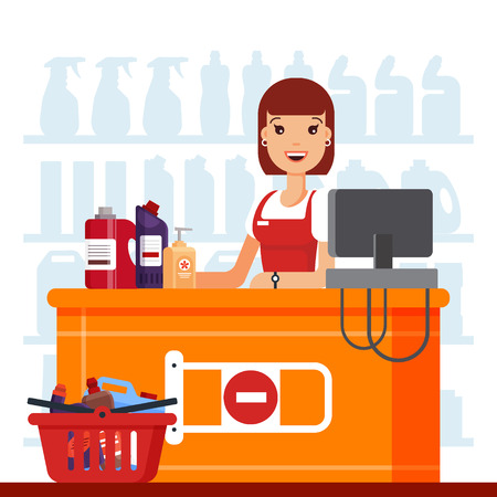 Woman cashier in supermarket with household chemicals. Seller at the counter, household supplies aisle, cleaning agents in the store used for washing, cleaning, laundry - flat vector illustration. Illustration