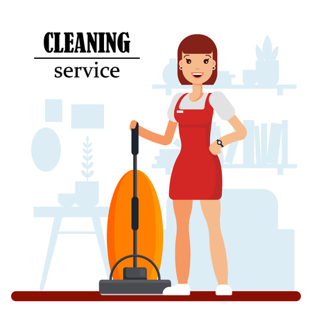 Cleaning service staff character with vacuum cleaner. Housewife cleaning at home, woman worker in uniform, housekeeping services - flat vector illustration