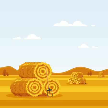 Rural landscape with haystacks, forks on fields. Flat dried haystack with hayfork. Farming haymow bale hayloft vetor illustration