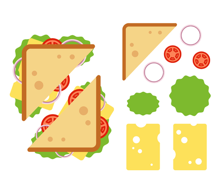 Sandwiche top view with tomato, onion, salad, cheese isolated on white background, snack for breakfast and lunch, flat vector illustration Ilustracja