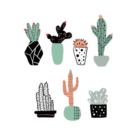 Hand drawn cacti set. Cute cartoon cactus in pots scandinavian style, childish print vector illustration