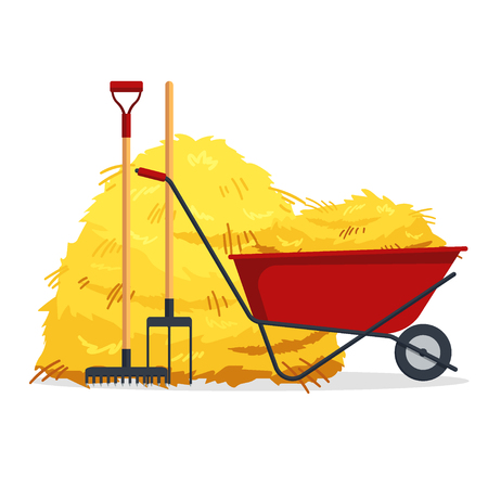 Red flat gardening wheelbarrow with bale of hay, pitchfork, rake isolated on white background. Flat dried haystack, farming haymow, agricultural rural haycock, haymaking time - vector illustration.  イラスト・ベクター素材