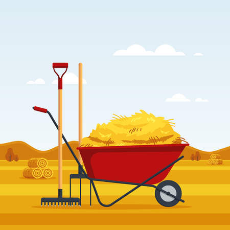 Rural landscape with dried haystacks on fields and red flat gardening wheelbarrow with bale of hay, pitchfork, rake. Farming haymow, agricultural haycock, haymaking time - vector illustration.