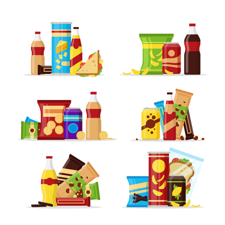 Snack product set, fast food snacks, drinks, nuts, chips, cracker, juice sandwich isolated on white background Vettoriali