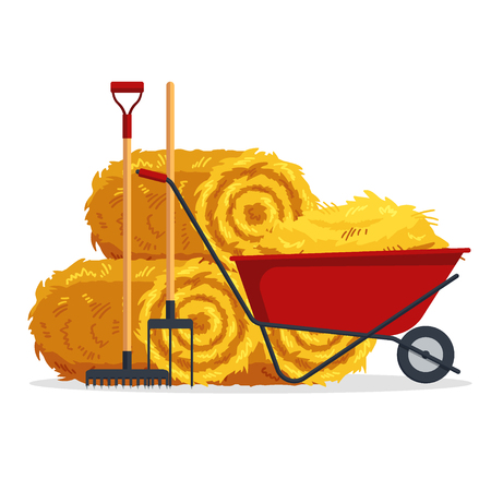 Red flat gardening wheelbarrow with bale of hay, pitchfork, rake isolated on white background. Flat dried haystack, farming haymow, agricultural rural haycock, haymaking time - vector illustration. Vettoriali