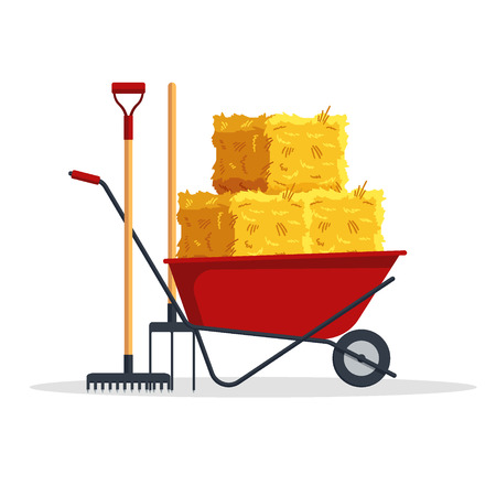 Red flat gardening wheelbarrow with bale of hay, pitchfork, rake isolated on white background. Flat dried haystack, farming haymow, agricultural rural haycock, haymaking time - vector illustration