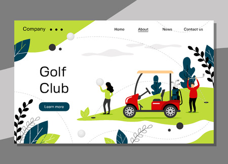 Golf club landing page template, golfing school concept with golf car, banner website - vector illustration. Stock Illustratie