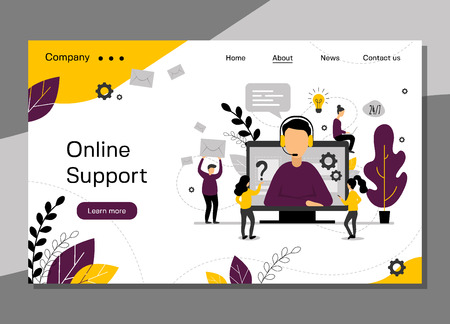 Online support landing page, 24h customer service for web page, hotline technical support, virtual help service - vector illustration