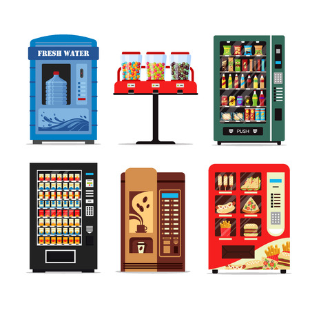 Set vending machines full of products, dispensers collection with water candy cigarettes snacks coffee hot food isolated on white background. Vendor machine front view. Flat vector illustration.