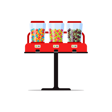 Gumball or candies vending machine with colorful bubble gum, sweetness, sweetmeat isolated on white. Triple vendor machine front view automatic seller. Candy dispenser flat vector illustration Zdjęcie Seryjne