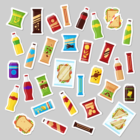 Snack product set, patch badges fast food snacks drinks nuts chips cracker juice sandwich. Flat illustration in vector.
