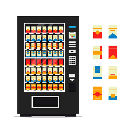 Vending machine with cigarettes isolated on white background. Vendor machine front view automatic seller, dispenser flat vector illustration.
