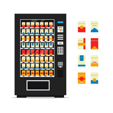 Vending machine with cigarettes isolated on white background. Vendor machine front view automatic seller, dispenser flat vector illustration. Ilustração Vetorial