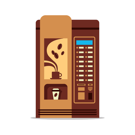 Coffee vending machine with cup isolated on white. Brown vendor machine front view automatic seller. Coffee dispenser flat vector illustration.