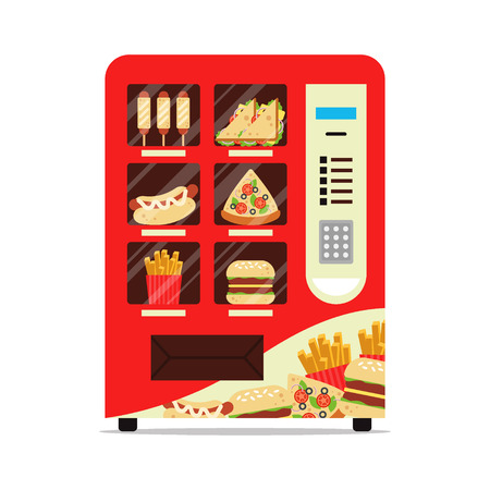 Hot food automatic vending machine with sausage dough sandwich pizza french fries hamburger isolated on white. Red vendor machine front view automatic seller. Meal dispenser flat vector illustration. Vettoriali