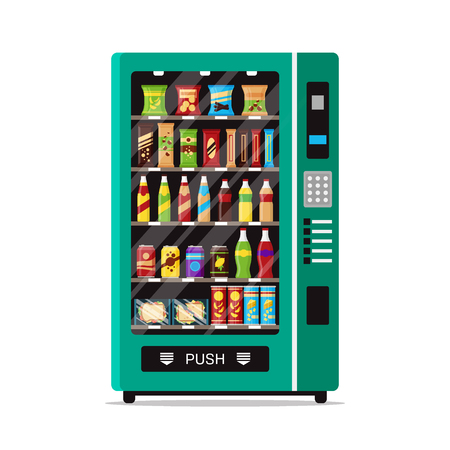 Full vending machine with fast food snacks and drinks isolated on white. Automat vendor machine front view automatic seller. Snack dispenser flat illustration in vector. Vettoriali