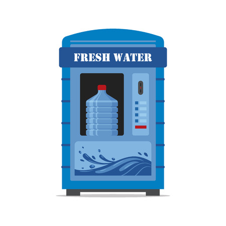 Vending machine with fresh water isolated on white background. Automat vendor machine front view automatic seller. Clean water dispenser flat illustration in vector