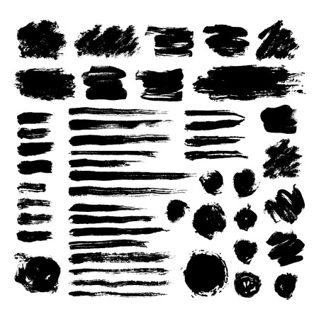 Set of black ink brush strokes isolated on white background. Hand drawn stains for backdrops. Grunge artistic brushes, text boxes, lines, splash, paintbrush collection - freehand vector illustration.