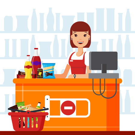 Woman cashier in supermarket with snack products. Seller at the counter with food basket, fast food snacks, drinks, nuts, chips, cracker, juice, sandwich in the store - flat vector illustration. Vettoriali
