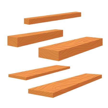 Set of wooden planks, stack of bars and lumber beam, pile of wooden logs timber. Planks for construction vector flat illustration. Vettoriali