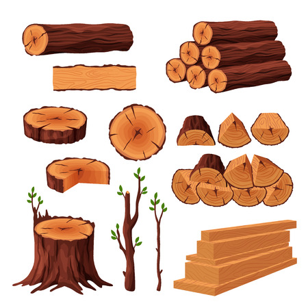 Set of firewood materials for lumber industry isolated on white background. Collection of wood logs stubs tree trunk branches boards. Stump and planks wooden in sawmill - flat vector illustration.