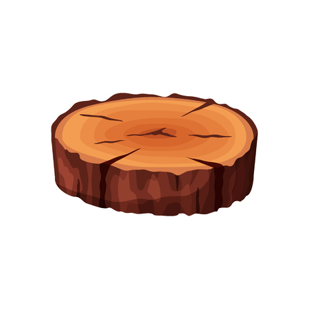 Cartoon isometric tree trunk slice isolated on white background. Wooden log cross section with splits and cracks vector illustration