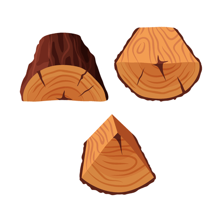 Cartoon tree triangle-shaped and semi-circle logs isolated on white background. Wooden log cross section with splits and cracks vector illustration Stock Illustratie