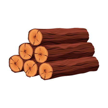 Stack of firewood materials for lumber industry isolated on white background. Pile of wood logs tree trunk - flat vector illustration.