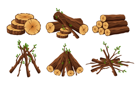 Set of woodpile, brushwood, firewood hut, stacks wooden logs and branches isolated on white background. Timber pile for bonfire design elements -flat vector illustration. Vettoriali