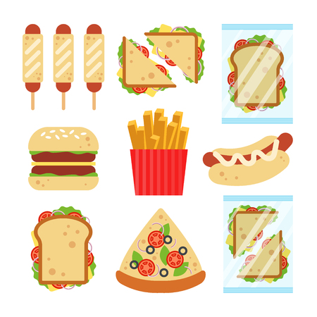 Fast food set for luncheonette menu design. Unhealthy street food isolated on white background, hamburger pizza sausage dough sandwich french fries snack - flat vector illustration.