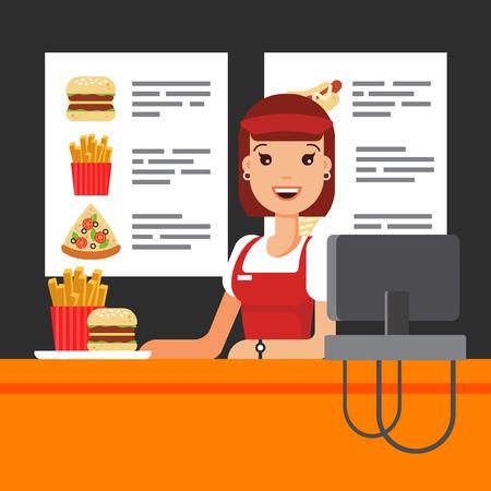 Commessa di fast food felice in uniforme con registratore di cassa. Il venditore di snack in luncheonette, pizza con patatine fritte hamburger - illustrazione vettoriale piatta. Vettoriali