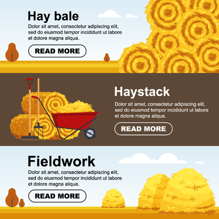 Horizontal banner haystack, wheelbarrow with bale of hay. Flat dried haystack flyer, farming haymow bale hayloft, agricultural rural haycock - vector illustration
