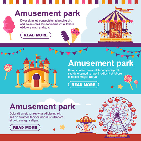 Amusement park horizontal banner with carousel, flags, inflatable trampoline castle, ferris wheel. Set family attractions flyer flat vector illustration
