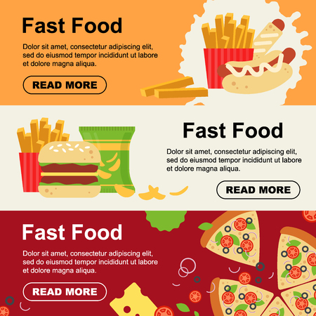 Fast food horizontal banner for luncheonette menu design. Unhealthy street food flyer, hamburger pizza sausage dough sandwich french fries snack - flat vector illustration.
