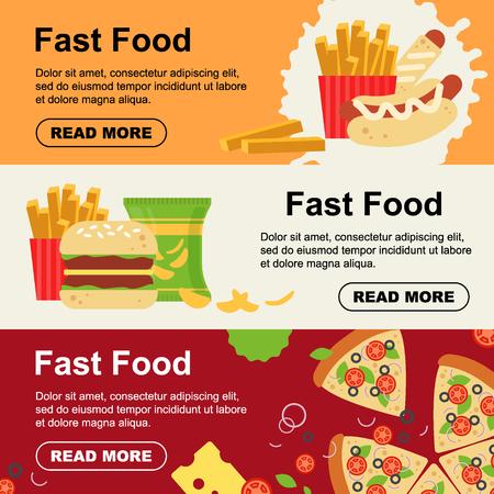 Fast food horizontal banner for luncheonette menu design. Unhealthy street food flyer, hamburger pizza sausage dough sandwich french fries snack - flat vector illustration. Zdjęcie Seryjne - 126049777