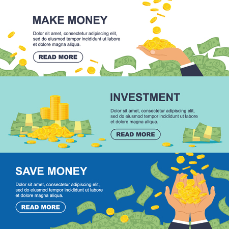 Set horizontal banner for business, banking concept, finance strategy, investment, money making. Golden coin and bundle of money with arms - flat vector illustration Ilustração