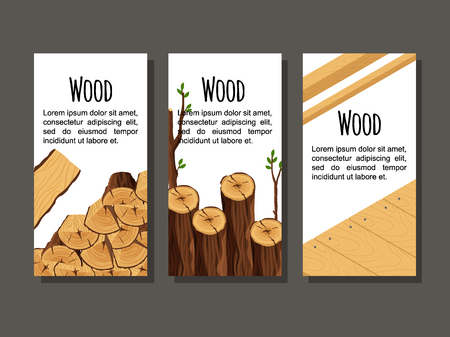 Set of vertical banner firewood materials for lumber industry. Collection of flyers wood logs stubs tree trunk branches boards - flat vector illustration.