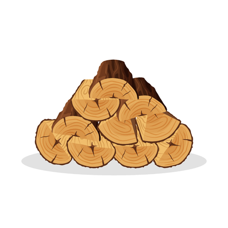 Stack of firewood materials for lumber industry isolated on white background. Pile of wood logs tree trunk, cartoon tree triangle-shaped and semi-circle logs - flat vector illustration. 向量圖像