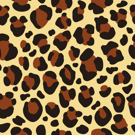 Leopard seamless pattern for fabric textile design, wild cat skin background, animal repeating texture vector illustration