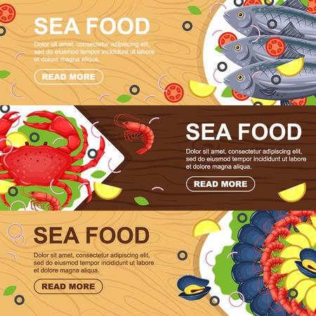 Horizontal seafood banners set for menu design with fish, crab, mussels, shrimp, lemon. Fresh seafood flyers for restaurant vector flat illustration