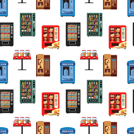 Seamless pattern vending machines full of products, dispensers collection with water candy cigarettes snacks coffee hot food on white background - flat vector illustration. Vettoriali
