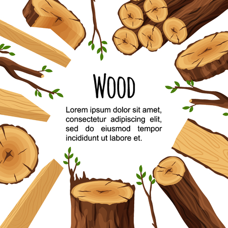 Poster of firewood materials for lumber industry isolated on white background. Wooden objects in circle with place for text. Flyer wood logs stubs tree trunk branches boards - flat vector illustration. Vettoriali