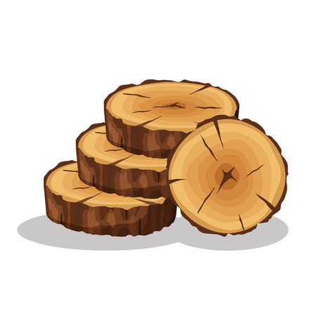 Cartoon pile of tree rings isolated on white background. Wooden log cross sections with splits and cracks vector illustration