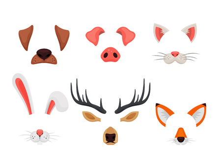 Animal faces set with ears and noses isolated on white background. Video chat effects and selfie filters. Funny masks of dog, pig, cat, rabbit, deer and fox - vector illustration.