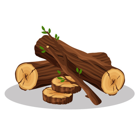 Stack of firewood materials for lumber industry isolated on white background. Pile of wood logs tree trunk, bonfire concept - flat vector illustration. Vettoriali