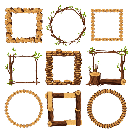 Wooden frames set isolated on white background. Square and round timbered borders collection with branches stump wood logs stubs tree trunk - cartoon vector illustration. 向量圖像