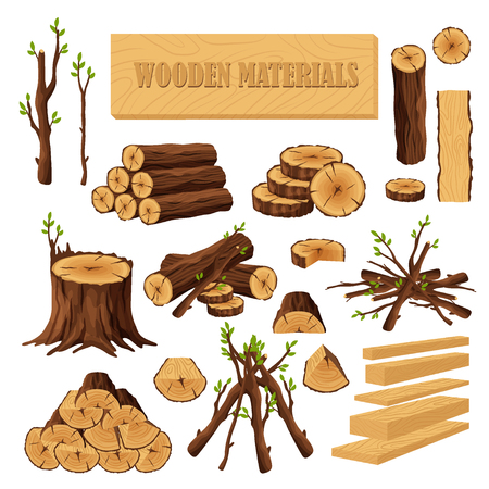 Set of firewood materials for lumber industry isolated on white background. Collection of wood logs stubs tree trunk branches boards. Stump and planks wooden in sawmill - flat vector illustration Ilustracja